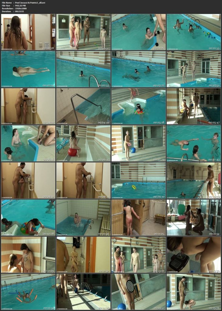 Family nudism pool and have