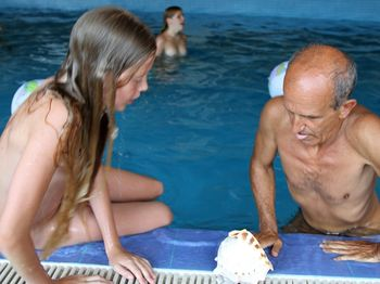 Russian Family Nudism Brisk Swim In The Pool
